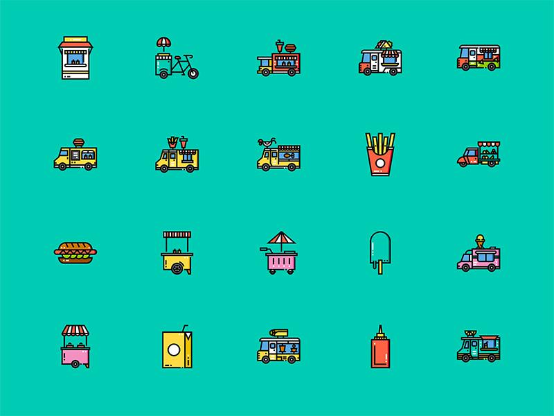 60个餐车图标 .sketch素材下载