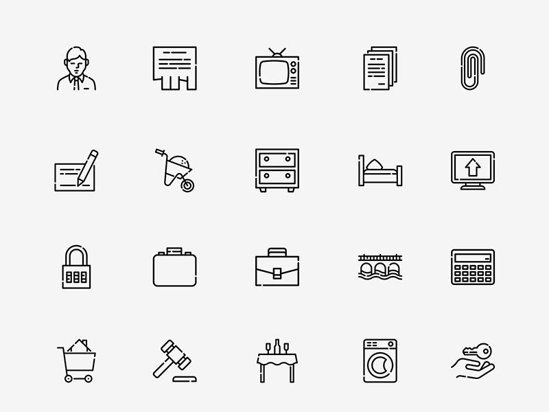 150个地产家居相关图标 .sketch素材下载