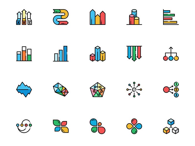 60个信息图表相关图标 sketch素材下载