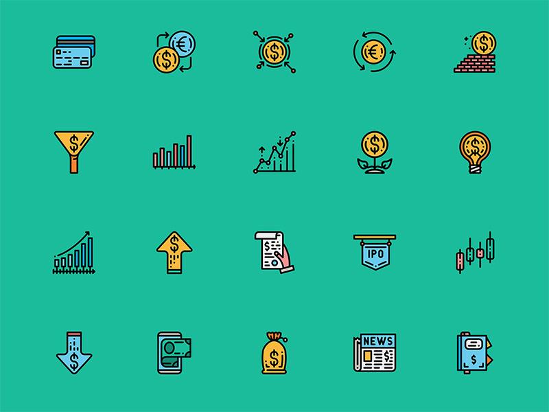 50个金融元素图标 .sketch素材下载