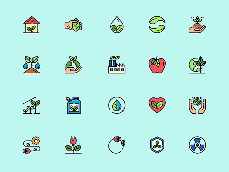 50个绿色生态图标 .sketch素材下载