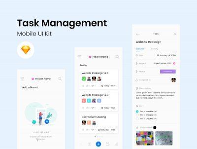 任务管理系统app ui .sketch素材下载