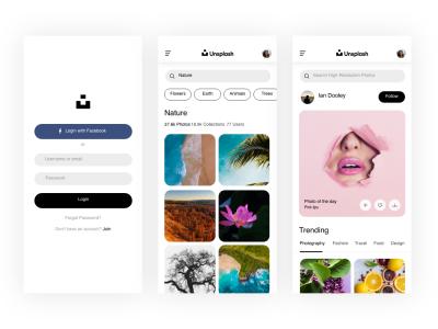 Unsplash app redesign ui .sketch素材下载