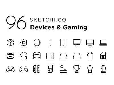 96个电子设备、游戏图标 .sketch .svg .ai素材下载