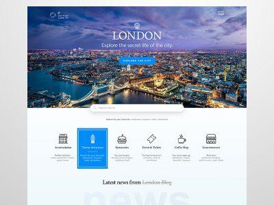城市旅游网站 首页模板 .sketch素材下载