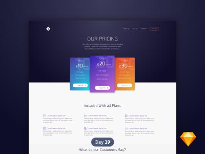 网站价格方案页面ui .sketch素材下载