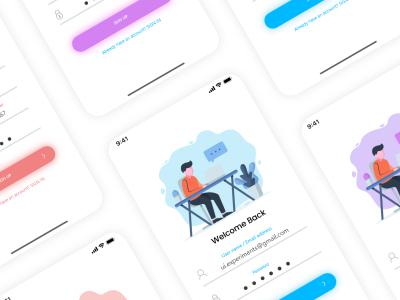 app登录、注册UI 、插画 .xd素材下载
