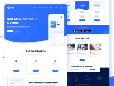 Pocket App Landing Page 网页模板 .xd素材下载