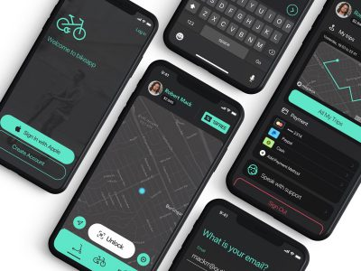 共享单车、滑板车app ui .sketch .xd .fig素材下载