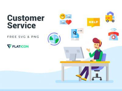 扁平化客户服务主题图标 .svg .png素材下载