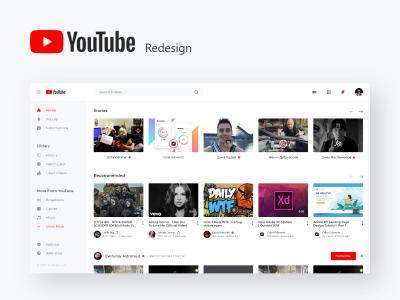 视频平台youtube 网页 ui redesign .xd素材下载