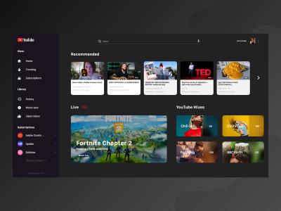Youtube 网站UI  Redesign .xd素材下载