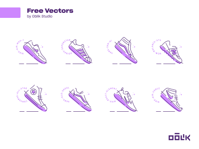 一组运动鞋图标 .svg .ai .eps .fig素材下载