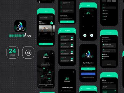 深色主题共享单车app ui .xd素材下载