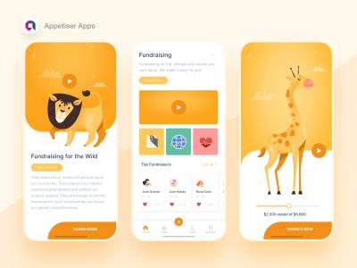 动物保护组织募捐app ui .xd素材下载