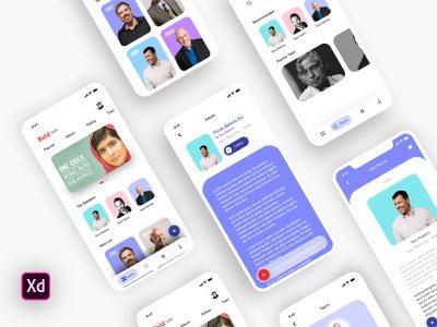 语音博客类app ui .xd素材下载
