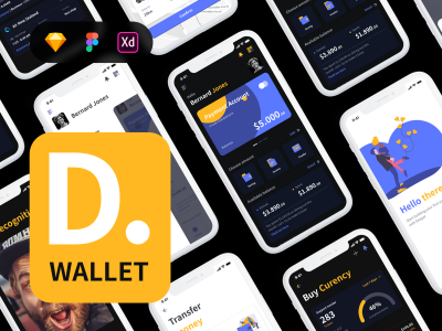 Deeper Wallet 支付、钱包app ui .xd .sketch .fig素材下载