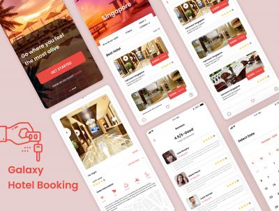 Galaxy 酒店预订app ui .xd素材下载