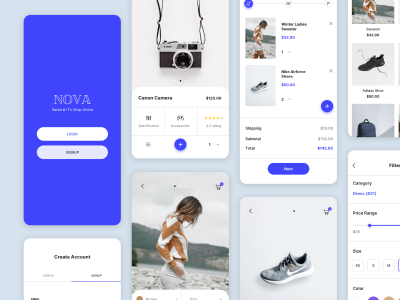 NOVA 电商app ui .sketch .fig .xd素材下载