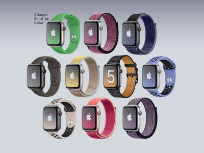 10个款式apple watch 5 mockup .psd素材下载