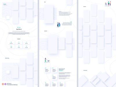 Behance app ui设计展示贴图模板–3 .ai .xd素材下载