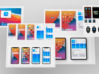 iOS 14 App 图标模板 及展示效果 .sketch素材下载