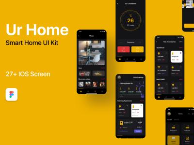 Ur Home 暗黑风格智能家居app ui 设计模板 .fig素材下载
