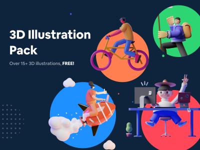 18 个3D风格场景插画 .fig素材下载