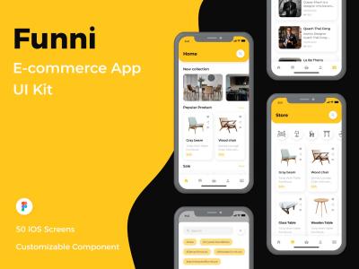 家居电商app UI套件 Funni-E-commerce App UI Kit