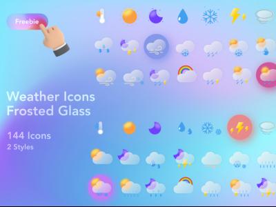 一组磨砂玻璃质感天气图标 .fig素材下载