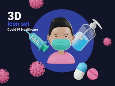 新冠肺炎防治主题3D图标插画 .fig素材下载