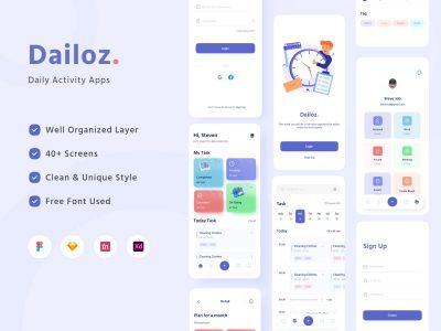 Dailoz  任务管理app ui .xd .fig .sketch素材下载