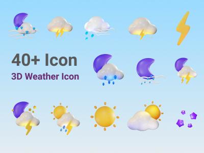 40+ 3D风格天气图标 .png素材下载