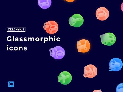 Glassmorphic icons玻璃磨砂效果图标 .fig素材下载