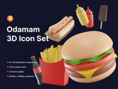 Odamam 3D美食图标 .fig素材下载