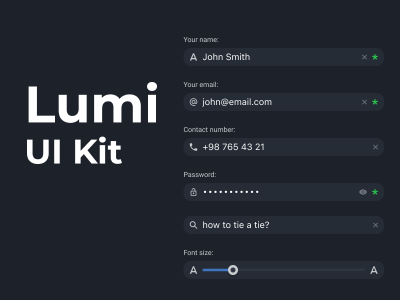 Lumi UI Kit 深色表单组件UI .fig素材下载