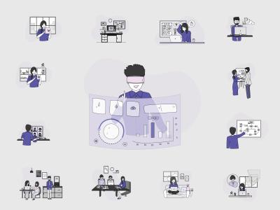14个企业场景插画 .sketch .svg .ai素材下载