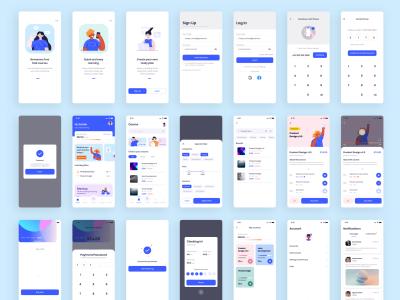 明暗2套在线教育app ui .sketch素材下载